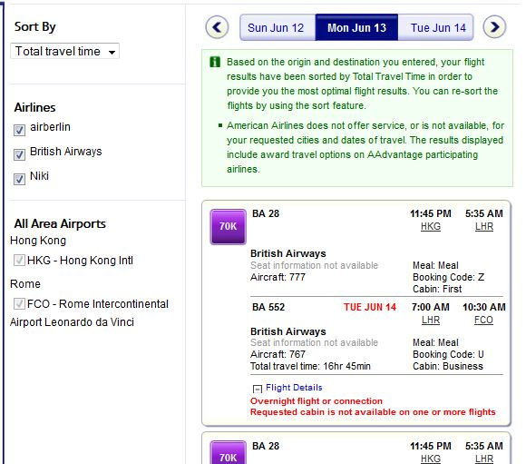 Can select the flights that suits - BA only operates business between LON and Rome