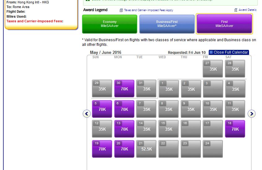 AAdvantage's Calendar search tool - note that miles quote is for 1 leg