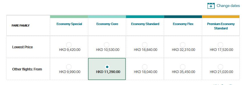 Same ticket costs 12k HKD for economy