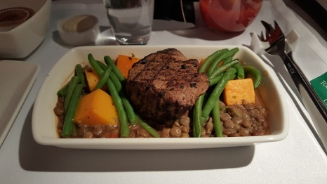 Steak with lentils