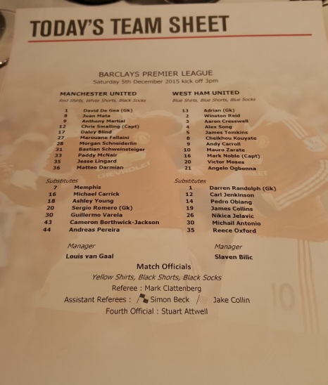 You also get a lineup sheet for the game