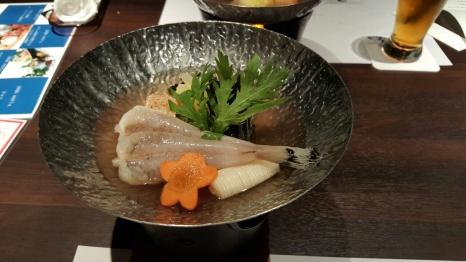 Before - Anglerfish with Anglerfish liver and mushroom soup